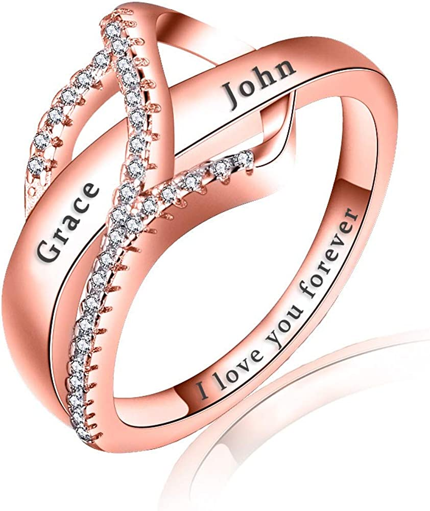 Latest item UCADRIT Personalized Spiral Twist 4 years warranty Engraved Names Rings Sterl 925