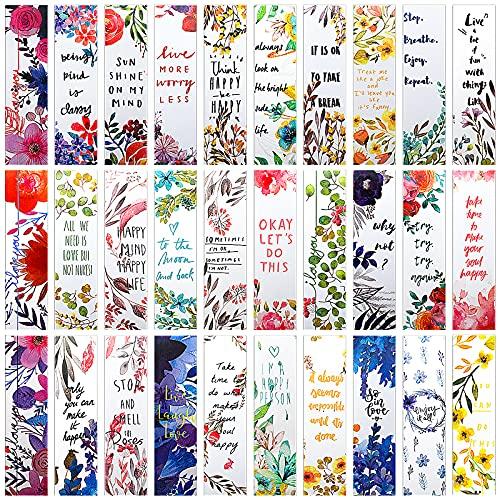 MWOOT 30 Piezas Estilo Floral Marcadores de Libros de Papel,Cita Inspiradora Marcadores de Página Bookmarks Set,Flores Marcapáginas Clip de Página para Suministros Lectura(15x4cm,30 Estilo )