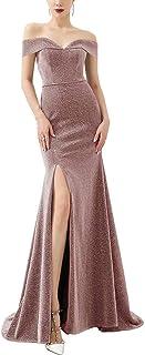 فساتين حفلات للنساء بدون أكتاف وجانبية مشقوقة لامعة لإشبينة العروس فستان حورية البحر فستان سهرة وردي