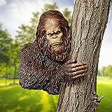 AGIZIO Bigfoot The Bashful Yeti Tree Statue, Whimsical Cartoon Orangutan Sculpture Tree Hugger Decor, Sasquatch Garden Figurines, Funny Garden Yard Art Tree Sculpture (A)