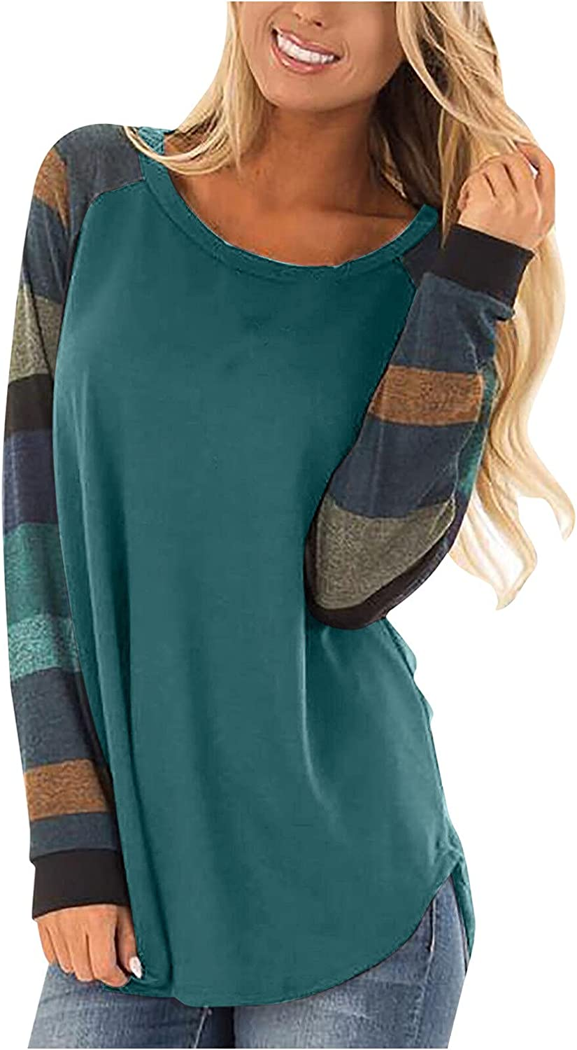POLLYANNA KEONG Sweatshirts for Teen Girls,Women's Casual Blouse Long Sleeve Colorblock Tops Fall Round Neck Blouses