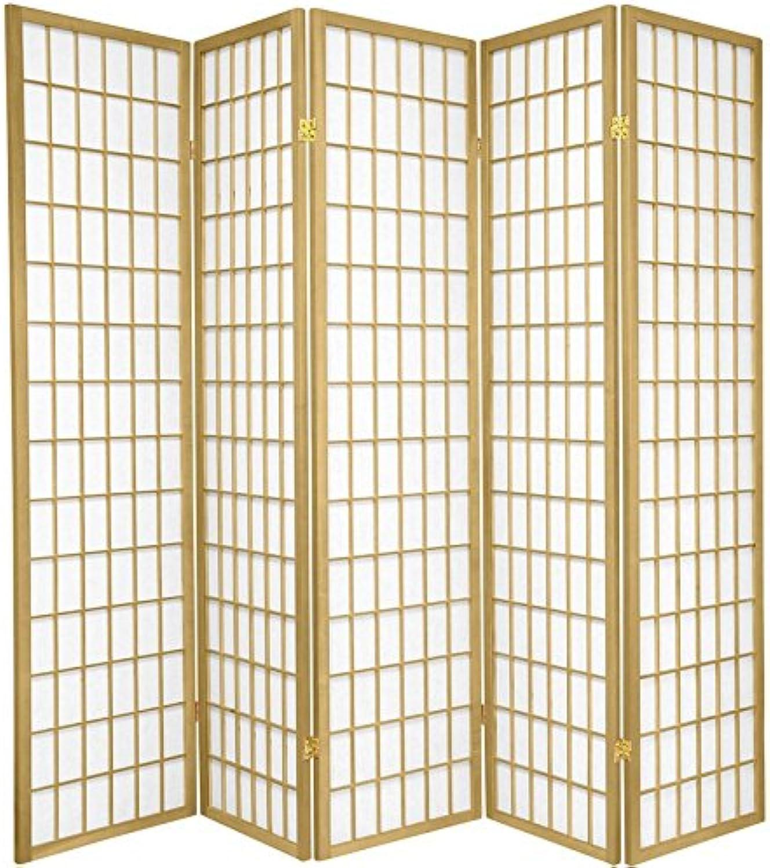 Oriental Furniture 6-Feet Window Pane Japanese Shoji Folding Privacy Screen Room Divider, 5 Panel gold