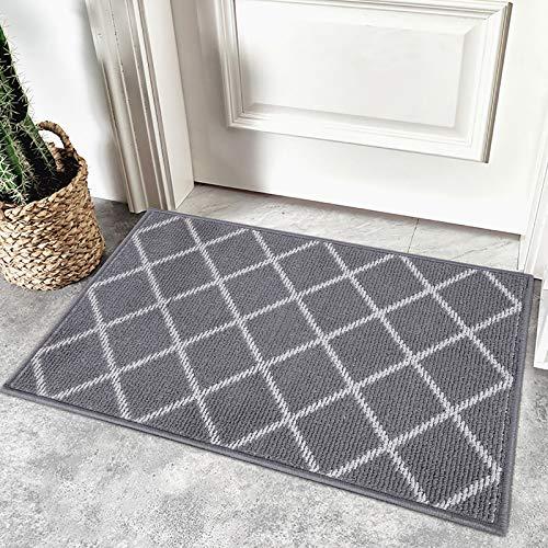 Homaxy rutschfest Fußmatte Waschbar Schmutzfangmatte Fussmatte Aussen Pflegeleichte Sauberlaufmatte Türmatte für Innen & Außen - 50 x 80 cm, Diamant Grau