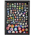 Military Medals, Pins, Patches, Insignia, Ribbons Display Case Wall Frame Cabinet (Black Finish)