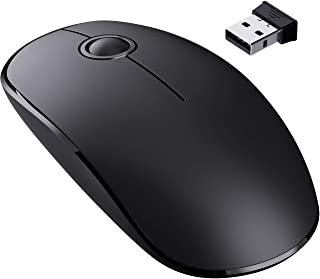 VicTsing [Upgraded] Slim Wireless Mouse, 2.4G Silent Laptop Mouse with Nano Receiver, Ergonomic Wireless Mouse for Laptop, Portable Mobile Optical Mice for Laptop, PC, Computer, Notebook, Mac - Black