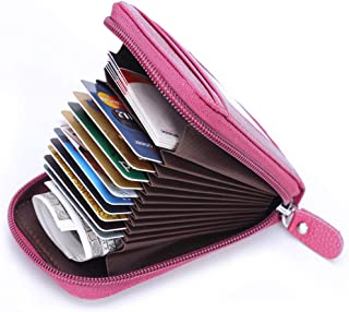 MaxGear Credit Card Wallet with Zipper, Genuine Leather RFID Credit Card Holder for Women..