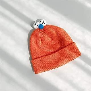 HongJie Hou Ins Paternity Wool hat Boys Girls Double Knit Cap hat Autumn and Winter Female Cute Decorative Eye Sesame Street (Color : Orange, Size : One Size)