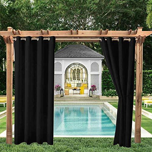 Cortinas opacas para exteriores, para jardín, patio, protección solar, con ojales | impermeables, resistentes al viento y a los rayos UV y al moho, 2 paneles de 132 x 238 cm, color negro
