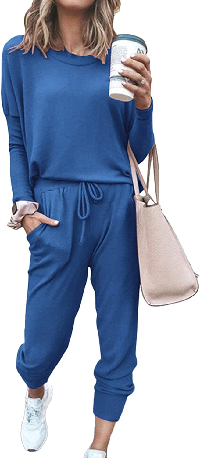 Pink Queen Women's 2 Piece Loungewear Set Outfits Long Sleeve Pullover Casual Lounging Wear Sweatsuits