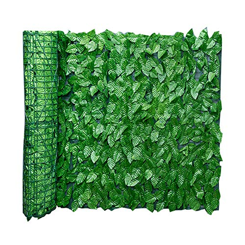 Artificial Screening Leaf, Artificial Hedge Ivy Leaf Garden Fence Roll Green Wall Balcony Privacy Screening, Expanding Trellis Fence Roll with Ivy Leaves UV Fade Protected Landscaping Garden Natural