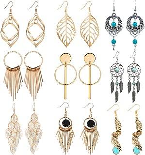 Dangle Earrings - 9 Pairs Boho Statement Drop Dangle Earrings Golden Silvery Fashion Jewelry Fringed Tassel Character Exaggerated Earrings Set for Women & Girls