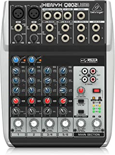 Behringer Xenyx Q802USB Premium 8-Input 2-Bus Mixer with USB/Audio Interface,Black