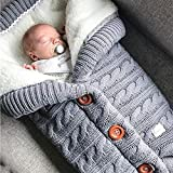 Yibaision Newborn Baby Swaddle Wrap Blanket Stroller Wrap Fleece Winter Warm Sleeping Bag Soft Knitted Blanket...