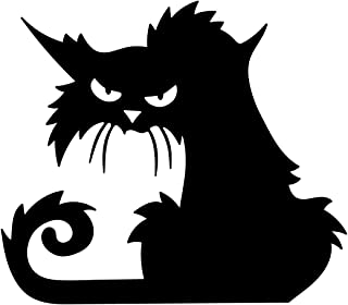 Vinyl Wall Art Decal - Angry Black Cat - 15