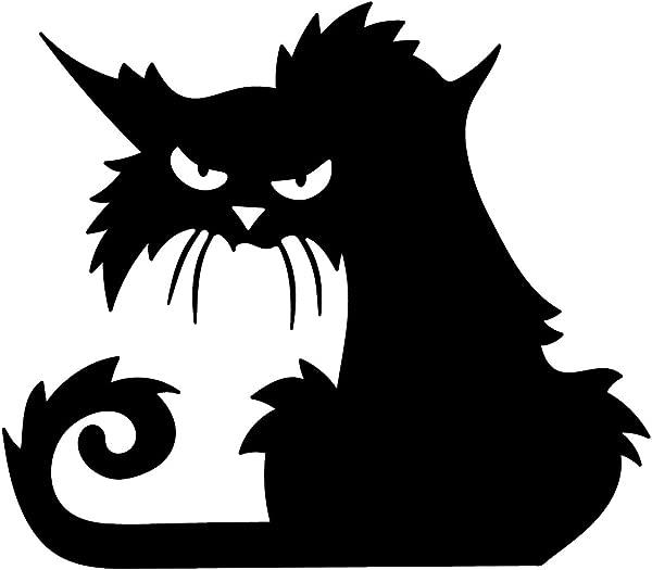 Vinyl Wall Art Decal Angry Black Cat 15 X 17 Spooky Halloween Season Decoration Sticker Trendy Kids Teens Adults Indoor Outdoor Wall Door Window Living Room Office Decor
