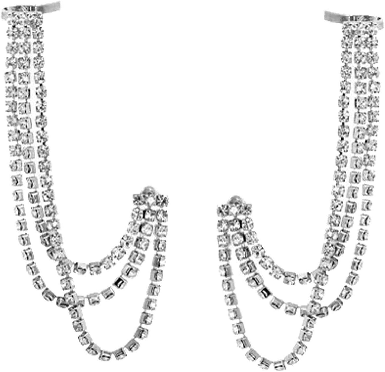 Chic Cubic Zirconia Ear Cuff Crawler Earrings for Women Girls Climber 3 Layered Leaf Chain Dainty Rhinestone Dangle Drop Cartilage Studs Cuffs Ears Wrap Clip on Earring Jewelry