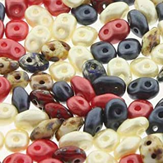 SuperDuo Old Glory Mix 2.5x5mm 2 Hole Beads Czech Glass Seed Beads 100 Gram Bag