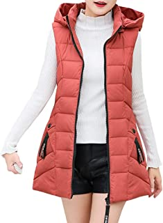 JESPER Women's Winter Slim Fitted Long Gilet Quilted Down Vest Padded with Zip Pocket Sleeveless Hooded Puffer Coat