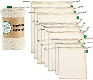 Reusable Mesh Produce Bags Natural Cotton Muslin Grocery Shopping Produce Bags See-Through Food Storage and Organizing Drawstring Fabric Bag Produce Saver Bags