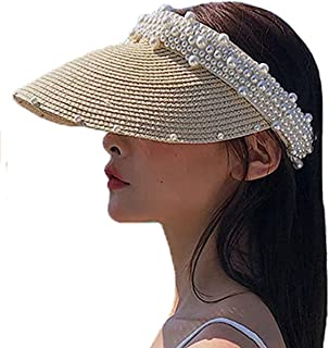 BZCSHOW Women's Visor BeachStraw Hat Pearl Straw Hat Empty Top Hat Female Topless Sunhat, Sweet And Lovely Sun Hat Summer ...