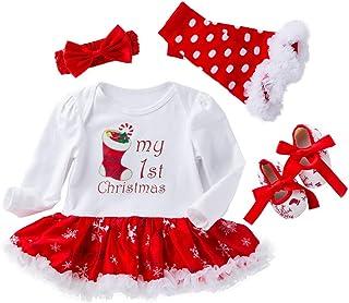 4 piezas Infant Baby Chica Strampler vestidos para Navidad Halloween Strampler traje traje Set New Born niña Rock 0 – 24 meses