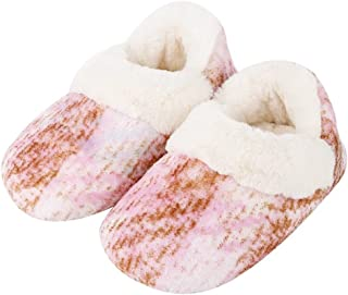 Toddler Little Kid ggudd Girls Winter Suede Leather Warm Plush Lining Comfortable Slip on Indoor Slippers