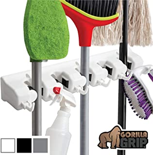 Gorilla Grip Premium Mop and Broom Holder, 5 Auto Adjust Slots, 6 Hooks, Holds Up to 50 Lbs, Easy Install Wall Mount, Store Cleaning and Gardening Tools, Organize Kitchen, Garage, Storage Rooms, White