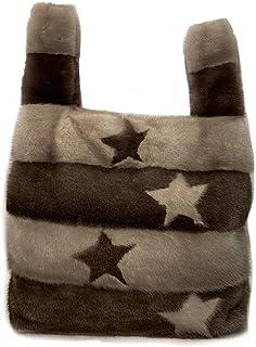 Borsa Shopper Visone Grigio bicolor con stelle intarsiate - 705