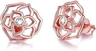 أقراط من الفضة الإسترلينية من سترولجيريل للنساء أقراط روز مطلية بالذهب الوردي هدية الفتيات