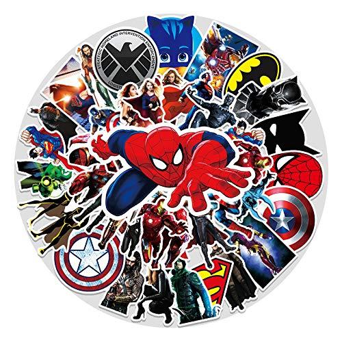 WYZNB 50 unids Iron Man Superman Etiqueta Engomada Portátil Scooter Decoración Dibujos Animados Graffiti Coche Pvc Impermeable Etiqueta