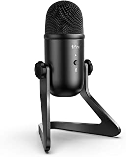 FIFINE USB Podcast Microphone for Recording Streaming on PC and Mac,Condenser Computer Gaming Mic for PS4.Headphone Output...