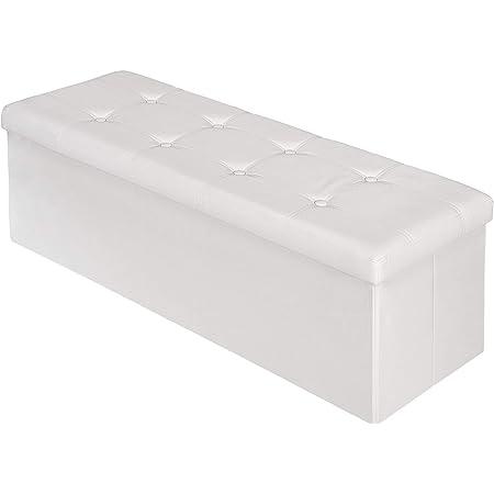 TecTake Tabouret Pouf Cube Dé Pliable Pliant Coffre Cube Siège Boîte de Rangement 110x38x38 cm Blanc
