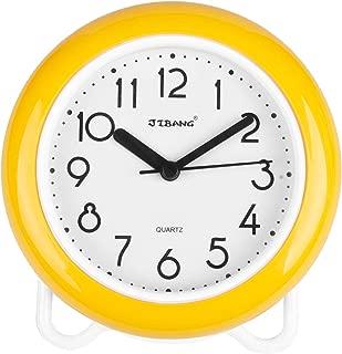 YINMING Bathroom Waterproof Clock, 7 Inches Non-Ticking Number Quartz Wall Clock, Adorable Desk & Shelf Clock, Living Room Decorative Indoor Clock, Kitchen Clock, Shower Clock,are Anti-Fog, Yellow