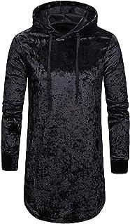 XWLY Men Sweatshirt Flannel Men Sweatshirt Soft Robe Pure Color Hooded Sweatshirt Spring and Autumn Long Loose Long Sleeve...