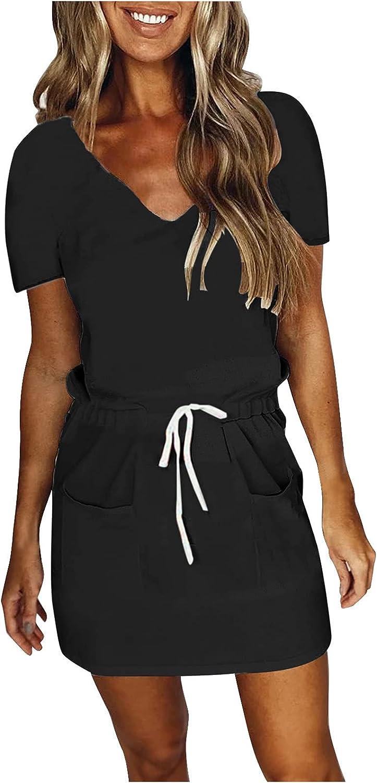 Zainafacai Summer Dresses for Women Casual V-Neck Stripe Splicing Mini Belt Dress Loose Tshirt Dress Sundress Beach Dress