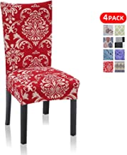 Stretch Dining Chair Covers, 4 Pack Dining Chair Slipcovers for Kitchen Hotel Table Banquet Removable Washable Spandex Shylock Pattern (4 Per Set, Red)