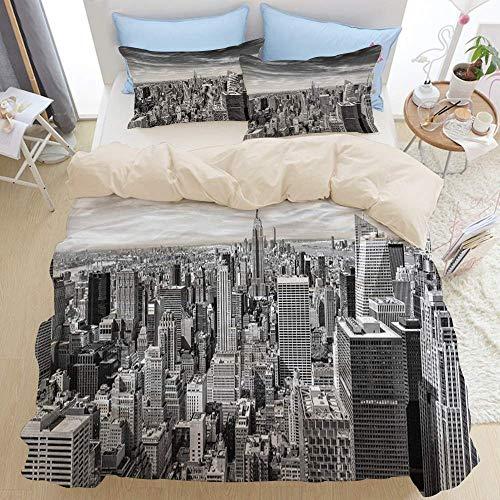 Juego de Cama de 3 Piezas, Hermosa Vista del Horizonte de la Ciudad de Nueva York, Juego de Funda...