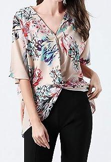 MK988 Women Casual Batwing Sleeve Floral Printed Cross Chiffon Top T-Shirt Blouse