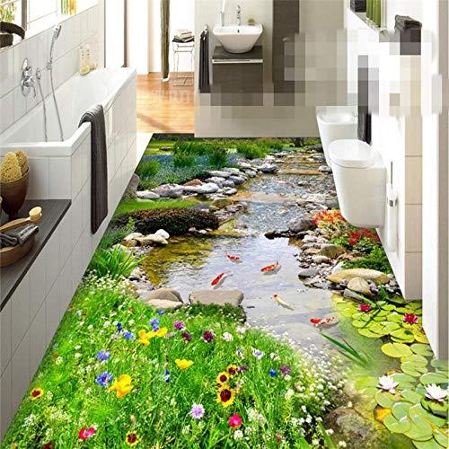 Verdickung Tragbare Pvc-Boden-Malerei, Zum Des Dreidimensionalen Anstriches 200 * 140Cm Des Park-Kleinen Fluss-Wasser-3D Fußbodens Einzufügen