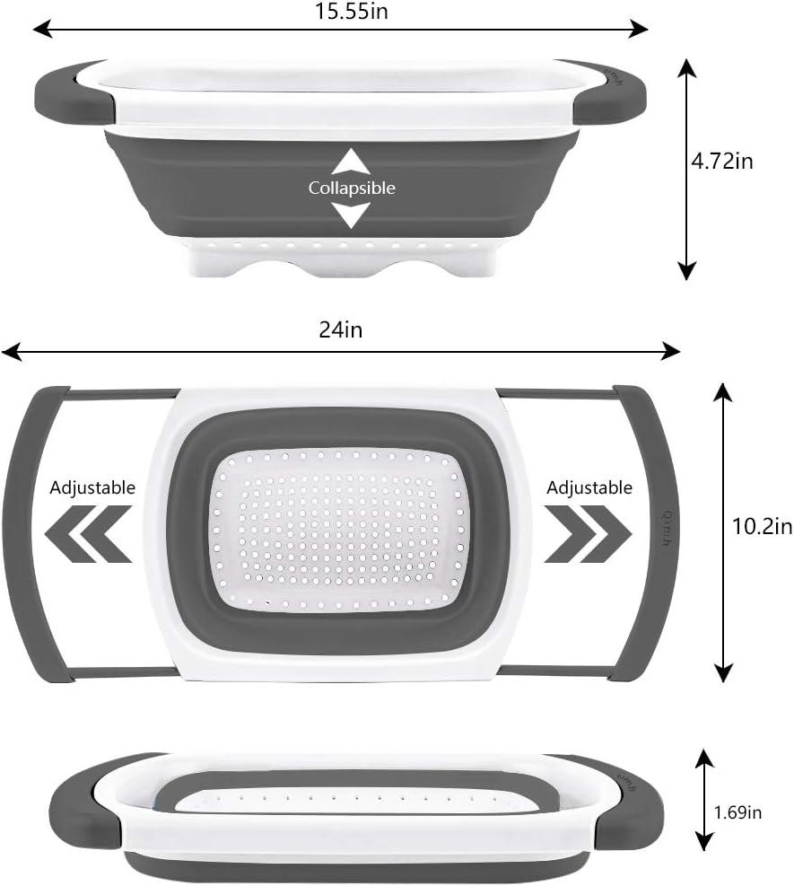 Dishwasher Safe QiMH Collapsible Colander Set of 3-1pc 6 Quart Over the Sink Silicone Strainer grey/&white 1pc 4 Quart and 1pc 2 Quart Folding Strainers