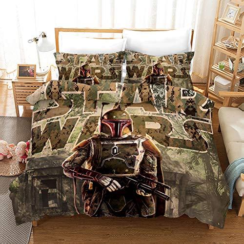 Yomoco - Juego de ropa de cama de La guerra de las galaxias, funda de edredón y funda de almohada,...