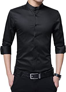 Men's Dress Shirt Banded Collar Long Sleeve Slim Fit Tuxedo Shirt