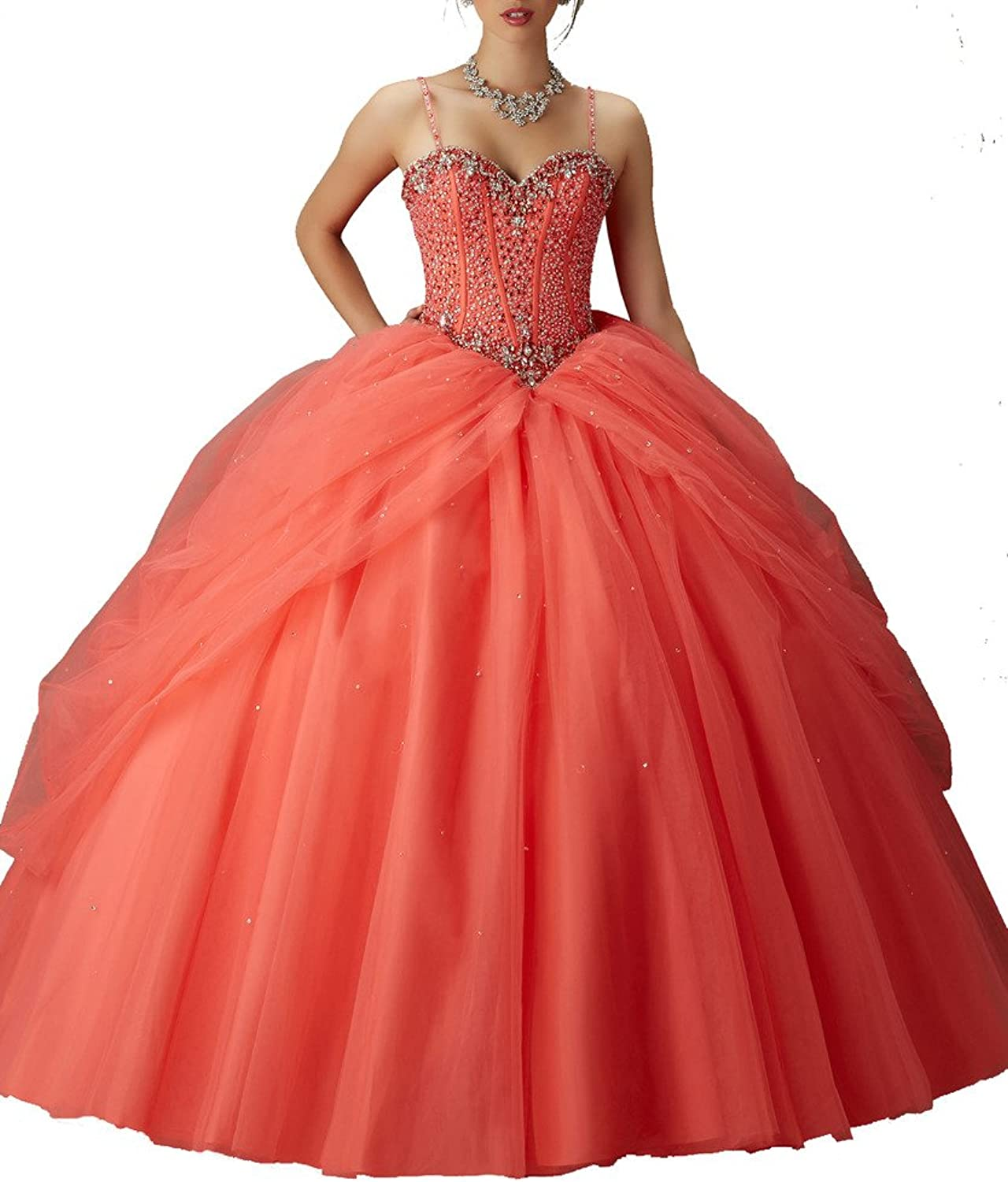 HSDJ Women's Sweet 16 Beading Ball Gowns Spaghetti Straps Quinceanera Dresses