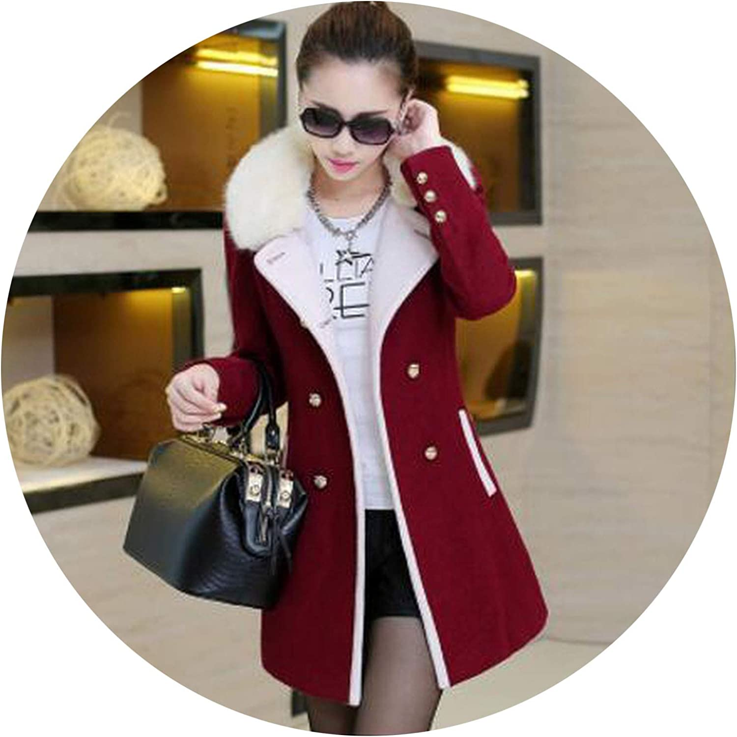 Women Explosion Section Wool Coat Medium Long Fall Winter Tide Big Size highend Fur Collar Coat