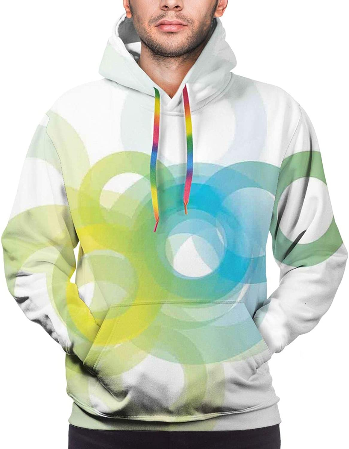 Men's Hoodies Sweatshirts,Modern Cool Decoration with Dots Like and Circled Design Artwork