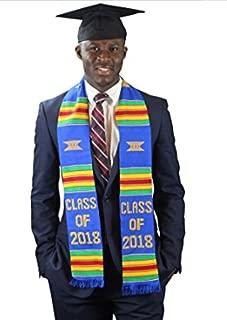 Class of 2018 Kente Cloth Graduation Stole Blue from Ghana