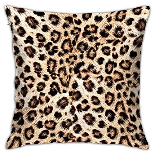 Funda de Cojín,patrón de diseño de Leopardo,Funda de Almohada Cuadrado para Sofá Coche Cama Sillas Decoración para Hogar(50 x 50cm)