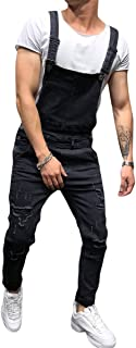 Allthemen Mens Denim Overalls Casual Ripped Hole Jeans Jumpsuits Bib Dungarees Workwear Playsuit