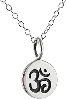 Sterling Silver Tiny Om Ohm Tag Charm Pendant Necklace, 18 Inch Chain