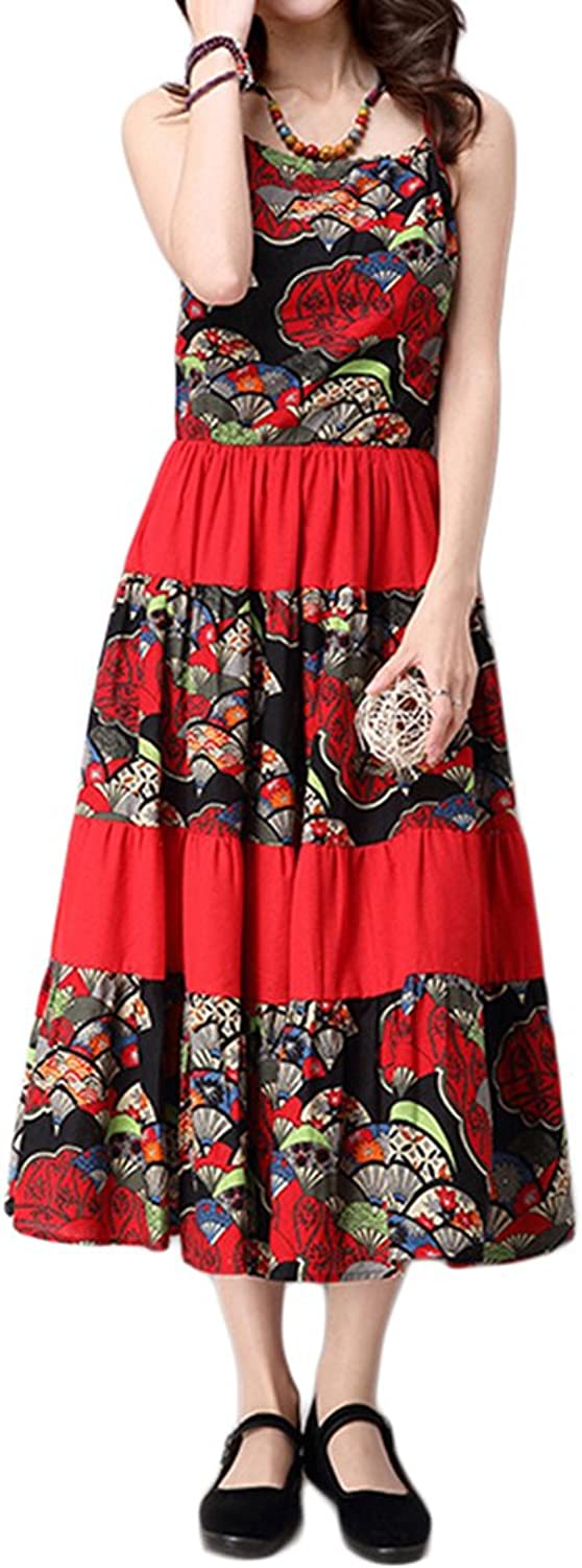 Ethnic Style Women Strap Printing Patchwork Bohemian Pleated Maxi Dress
